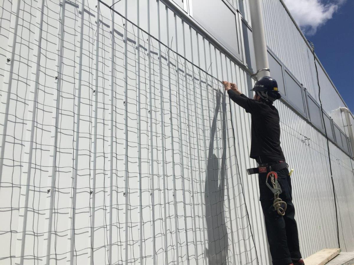 壁面にネットを取り付ける施工方法です(2015年10月)