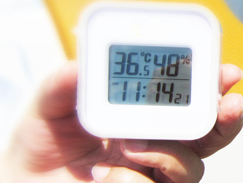 気温36.5℃ 湿度48% 言葉で表すと「暑くてたまらない日」です。(2017年8月3日)