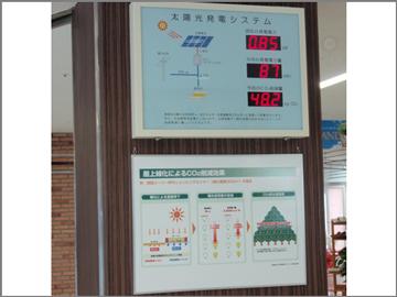 店舗内掲示パネル「屋上緑化によるCO2削減効果」